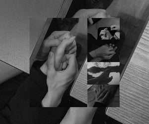 black and white, hand hands, and عناقك عناق image