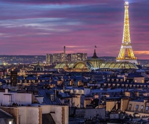 paris, rooftops, and tour eiffel by night image