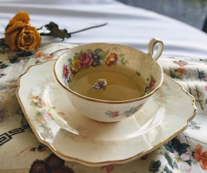 cup, cup of tea, and flower image