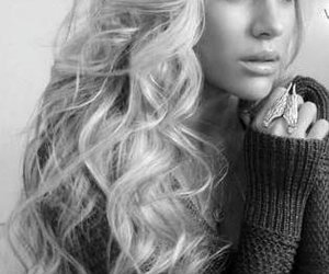 hair, blonde, and black and white image