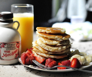 pancakes, breakfast, and strawberry image