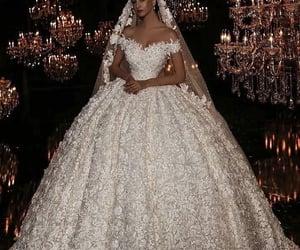 dress, wedding, and thanks image
