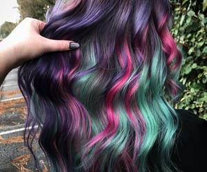 color hair, purple hair, and purple-pink-green hair image