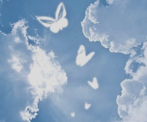 clouds, butterfly, and blue image