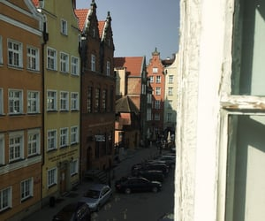 city, green, and street image