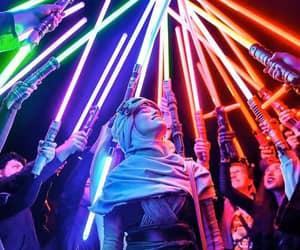 lightsaber, rey, and star wars image