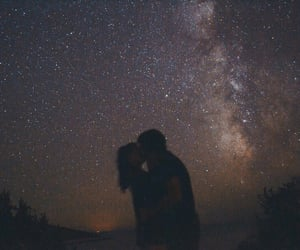 couple, couple kissing, and galaxy image