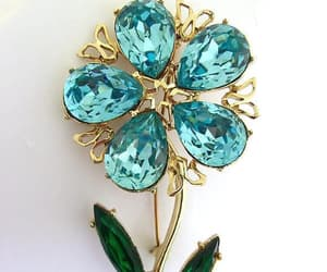 etsy, blue green brooch, and large glass brooch image