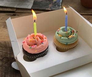 aesthetic, candle, and cupcake image
