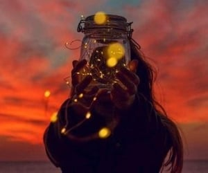 aesthetic, fairy lights, and woman image