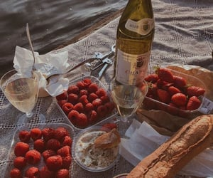 food, strawberry, and baguette image