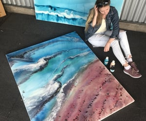 artists, the beach, and canvas image