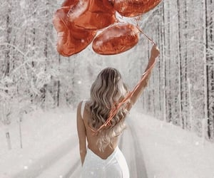 balloons, girl, and winter image