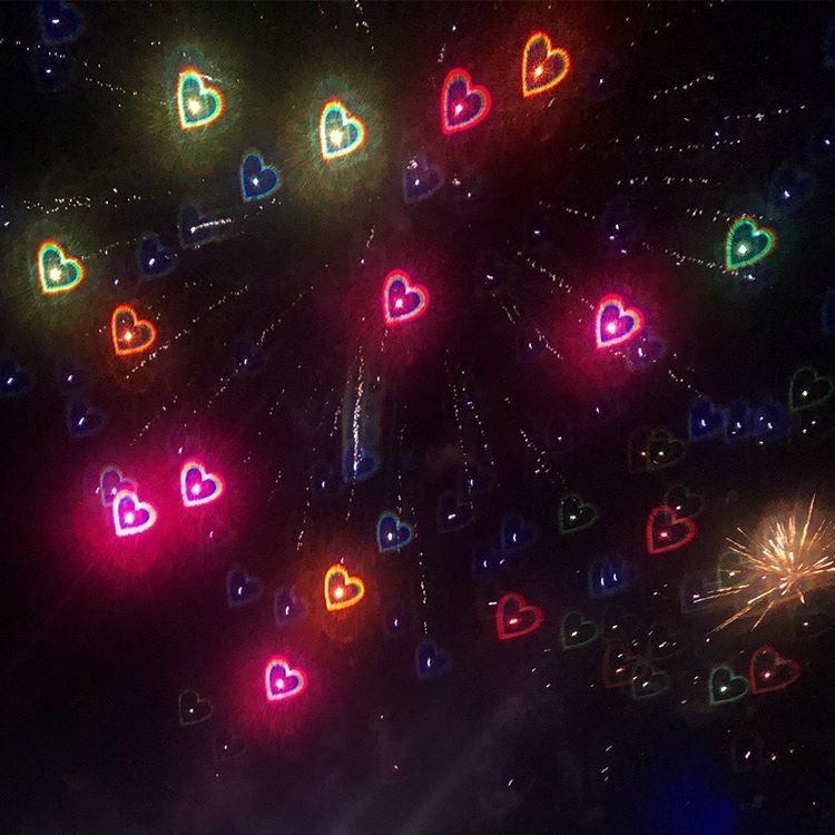 aesthetic, fireworks, and hearts image