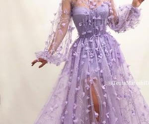 dress, purple, and flowers image