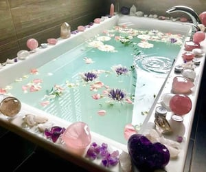 bath, crystal, and flowers image