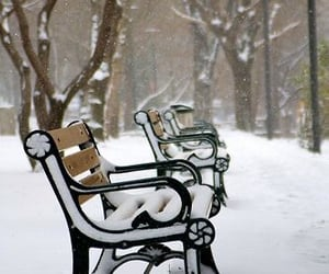 winter, bench, and snow image