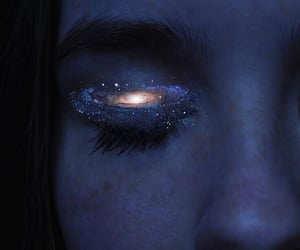 eyes, galaxy, and blue image