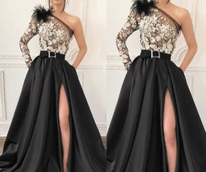 black prom dress, one shoulder prom dress, and vestido de longo image