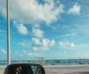 beach, cars, and ocean image