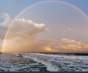 rainbow, sky, and beach image
