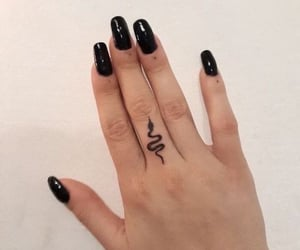Tattoos, fingers, and snake image