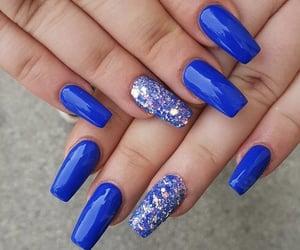 nail, blue nail, and beautiful image