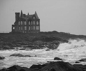 sea, black and white, and architecture image
