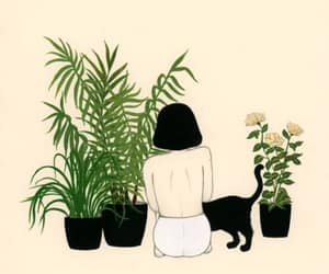 plants, cat, and girl image
