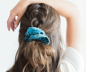hairstyle, wavy, and half-updo image