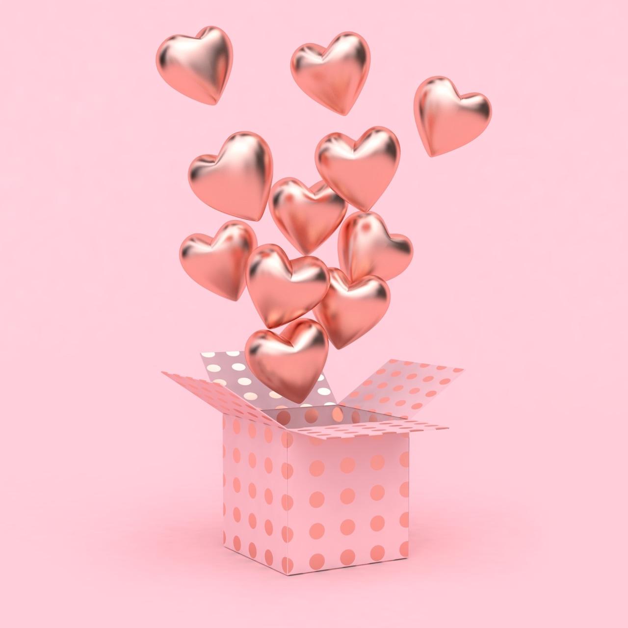 balloons, hearts, and pink image