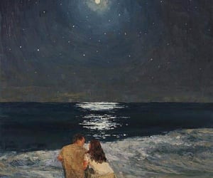 art, moon, and sea image