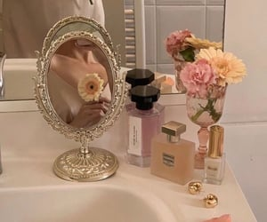flowers, girl, and bathroom image