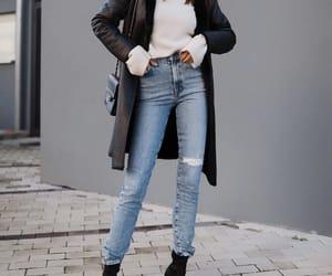 blogger, leather coat, and jbrandjeans image