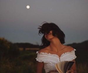book, girl, and moon image