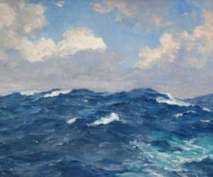art, ocean, and clouds image