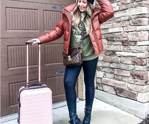 traveling style, branded travel bags, and travel outfit ideas image