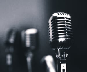 black and white, microphone, and music image