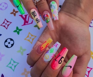 Louis Vuitton, nails, and acrylic nails image