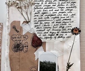 journal, flowers, and art image