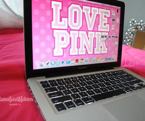 love pink and laptop image