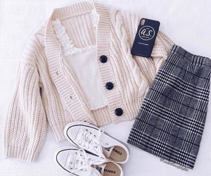 cardigan, skirt, and converse image