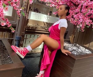 flowers, pink, and pose image