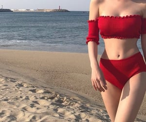 beach, girl, and red image