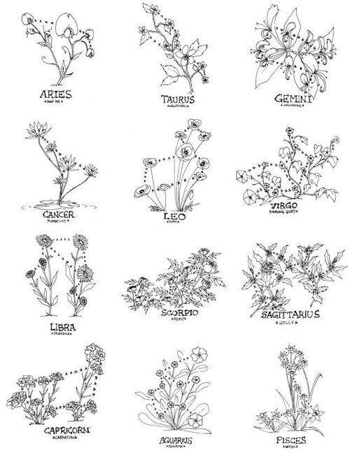 flowers, tattoo, and zodiac image