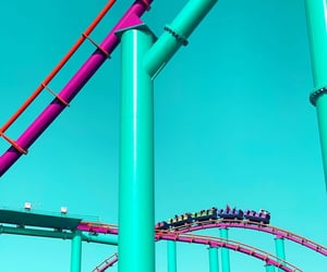 Amusement Parks, coasters, and colorful image