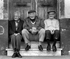 black and white, men, and old man image