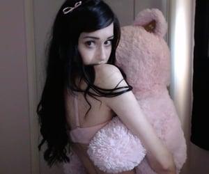 bear, girl, and pink image