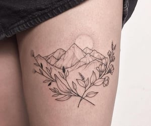 leaf, tattoo, and travel image