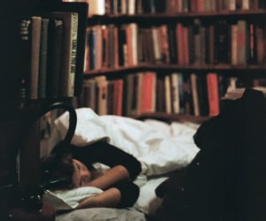 bed, bibliophile, and books image